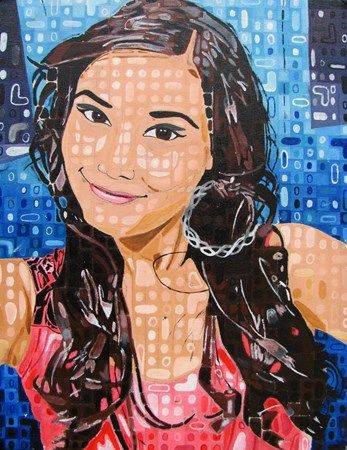 Chuck Close Inspired Portrait, Acrylic on Canvas - Conway High School Art Projec...