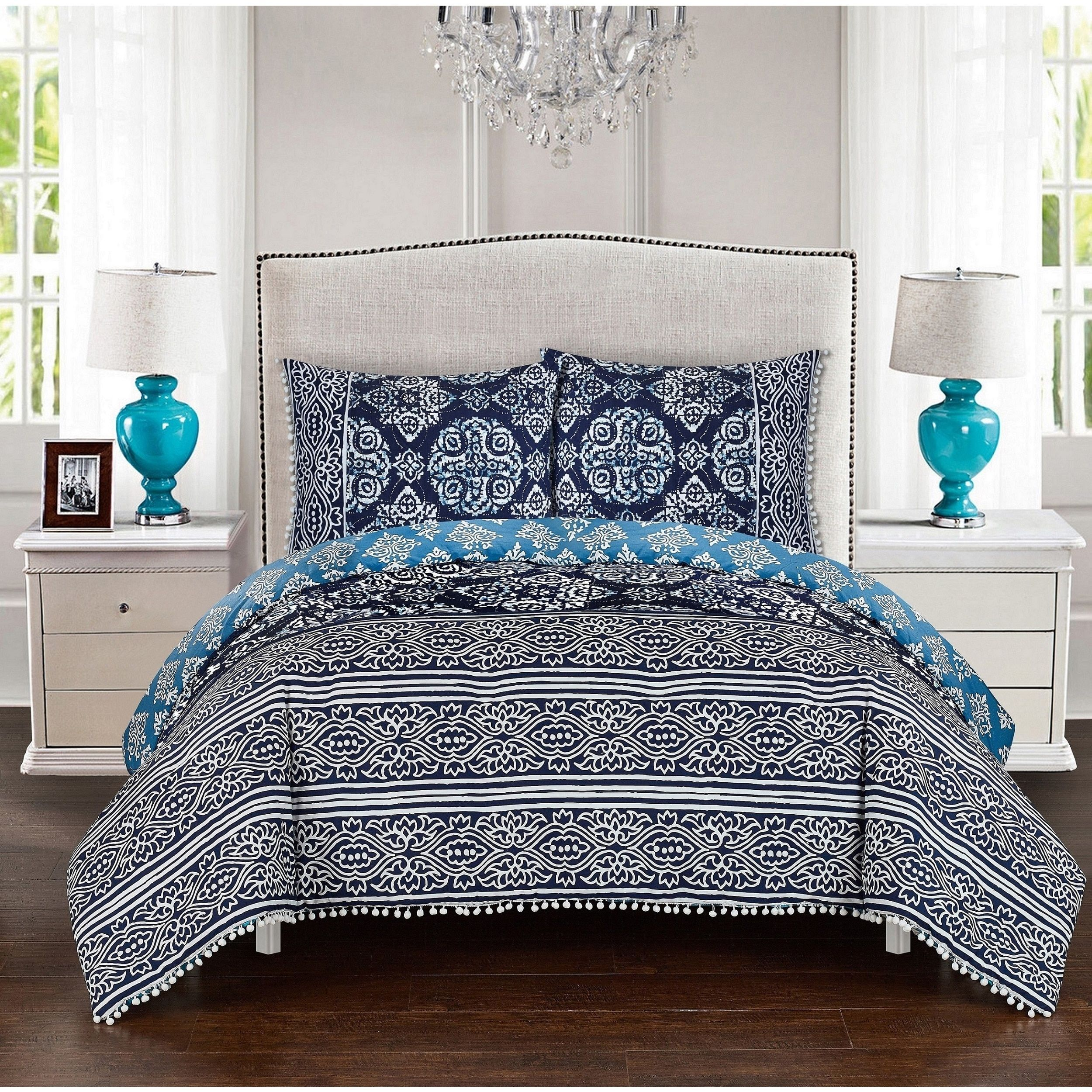 luxbed 3piece peridot navy duvet cover set