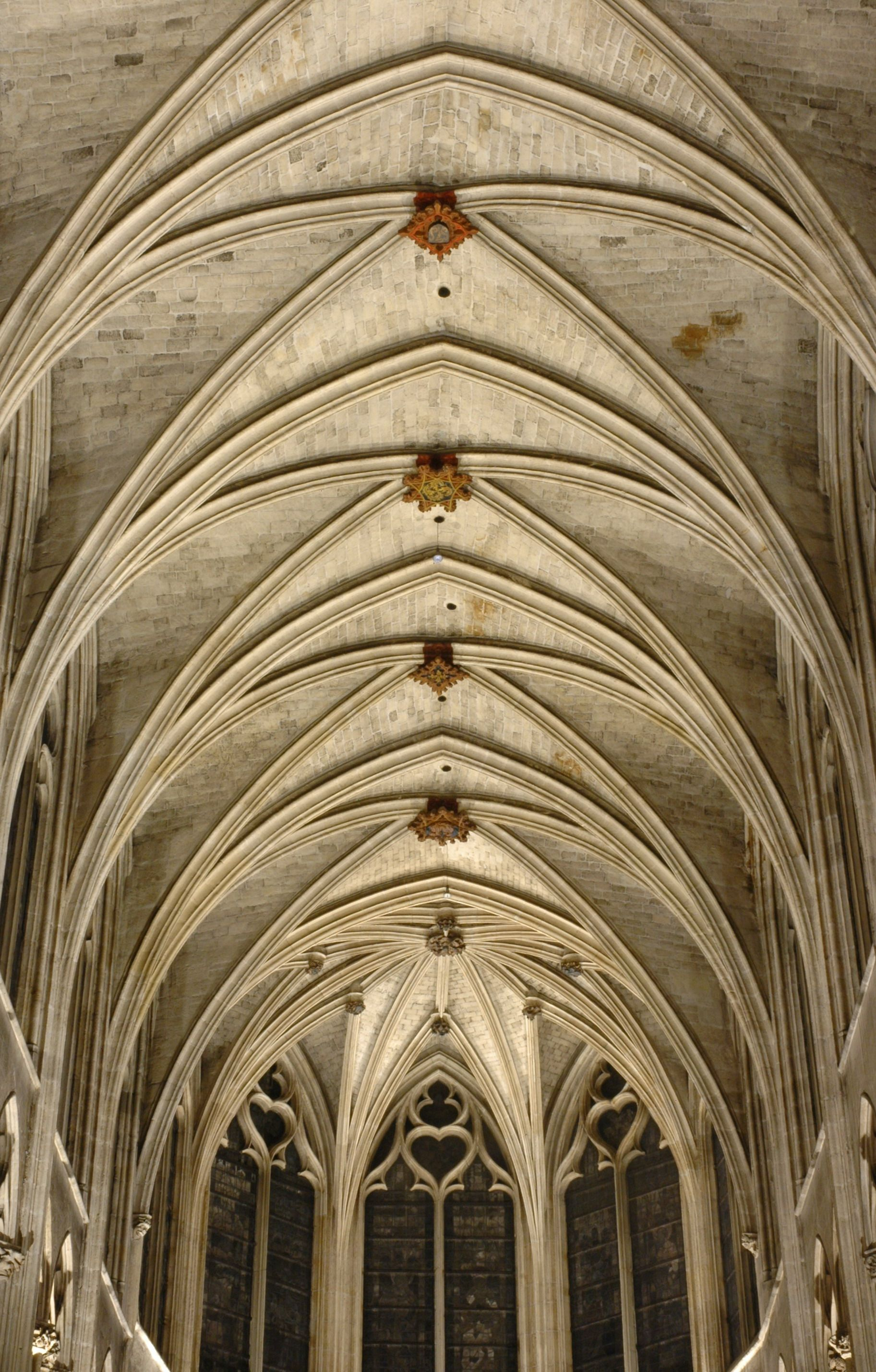 Gothic rib-vault ceiling of the Saint-Sverin church in ...