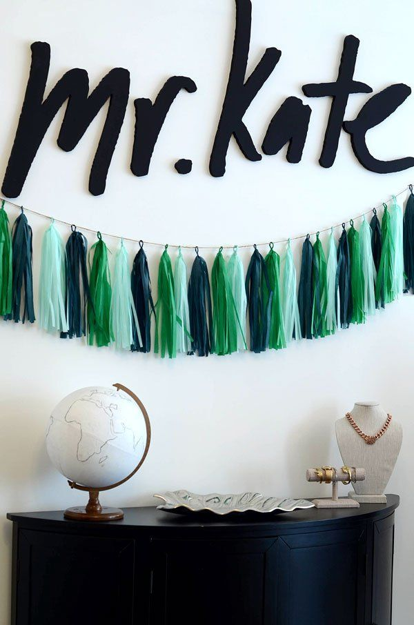 3b8e8af8a4 DIY green ombre tissue paper tassel garland - super easy! Get the full  how-to and be super prepared for your next party!