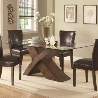 Wood Base Glass Top Dining Table, Glass Dining Room Table With Wood Base
