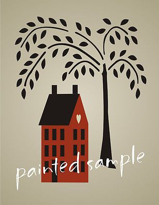 """Joanie Stencil 10.5/"""" tall Prim Willow Tree 6/"""" t Saltbox House Country Home Decor"""
