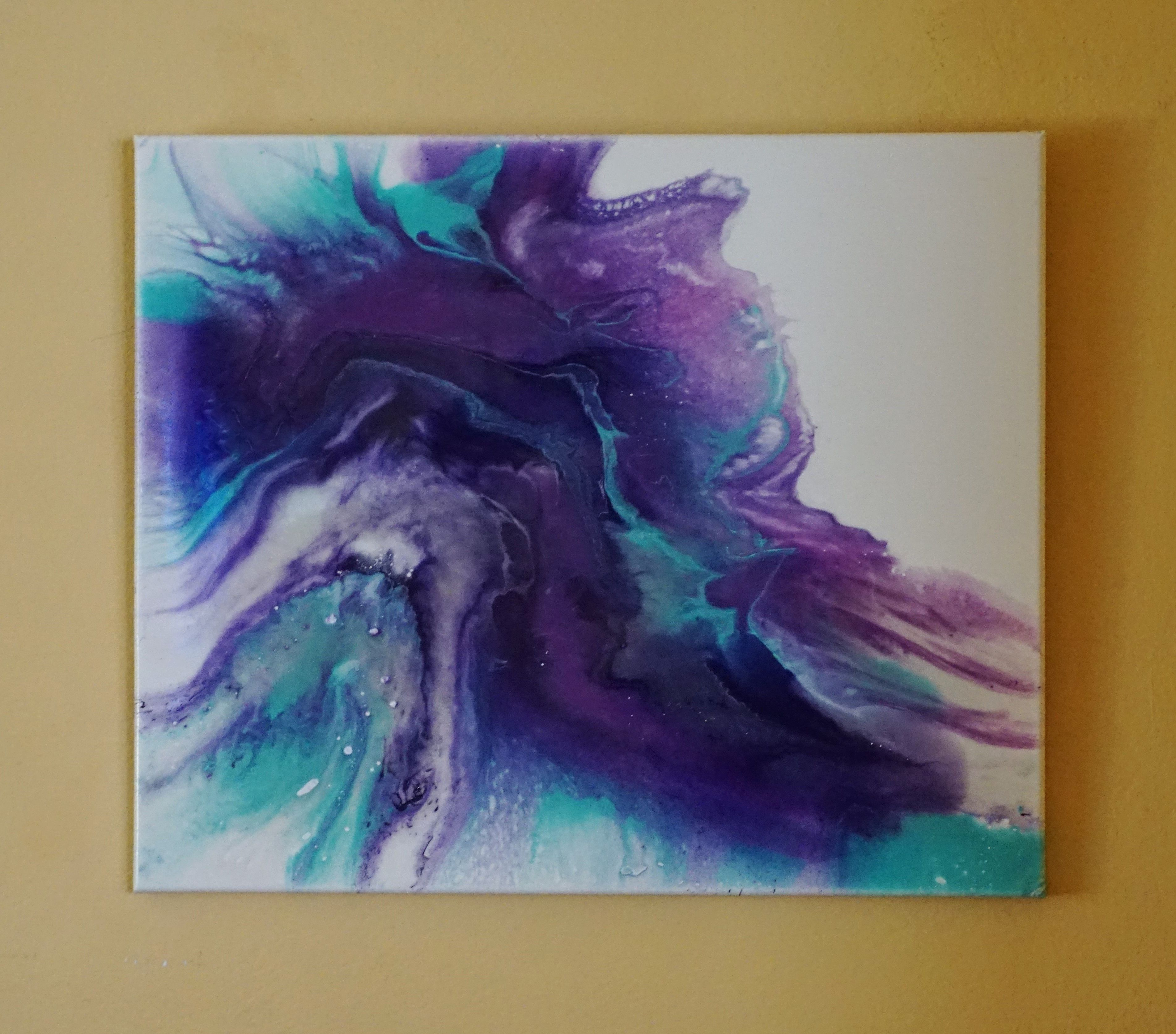 acrylic resin and ink pour painting resin paintings
