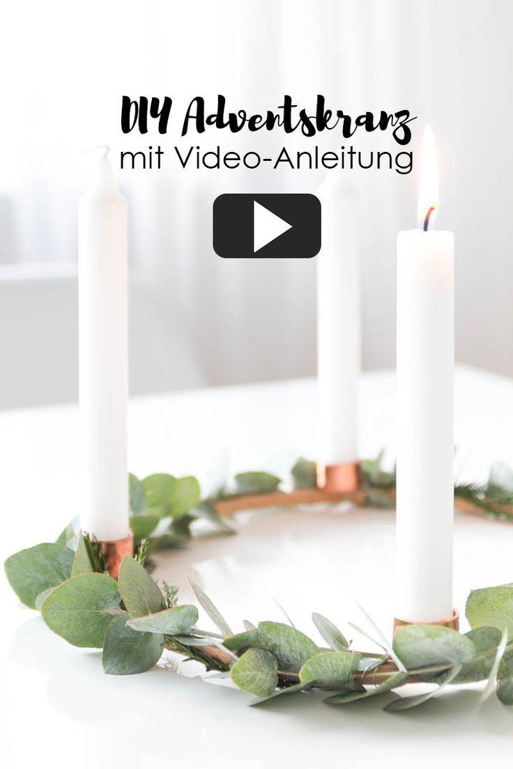 Weihnachtsdeko Kupfer diy adventskranz basteln - mit eukalyptus und kupfer - ganz einfache
