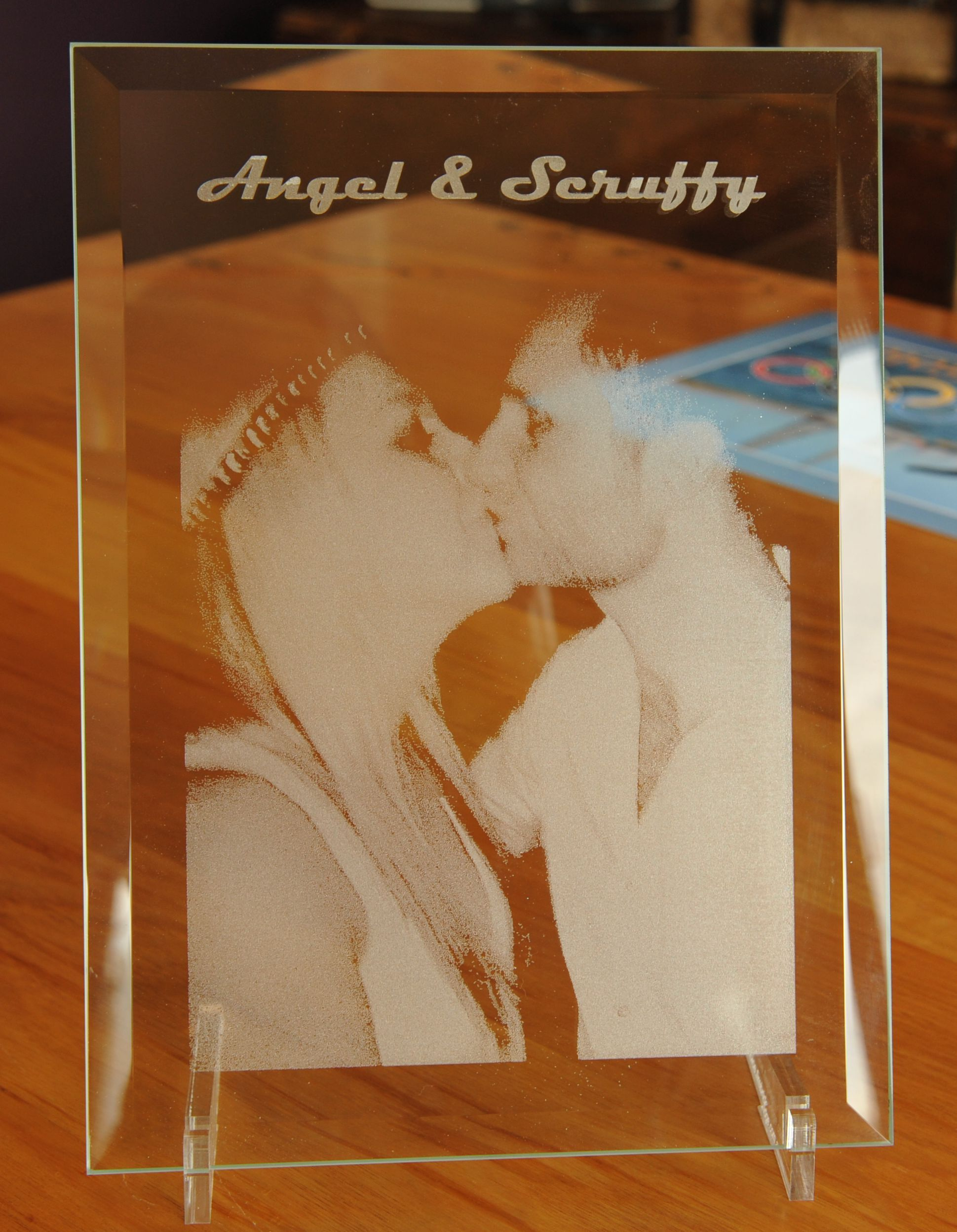 2e5fae98bce Bevel glass 250 x 200 mm engraved with photo and text. Clear acrylic stand  http