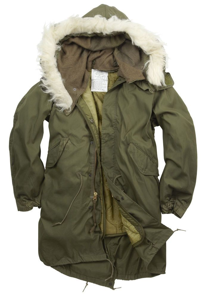 Olive German Army Parka with Liner Winter Coat Fleece Lined Hood Repro New