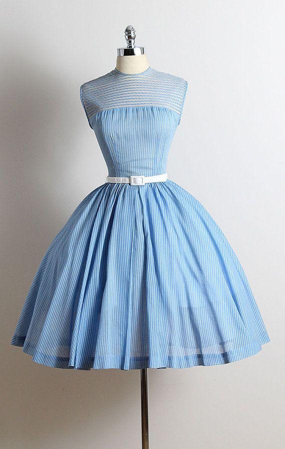 24be136ebb vintage 1950s dress   light blue striped cotton   tulle lining   tulle  striped bodice   detachable belt   metal back zipper   by R   K
