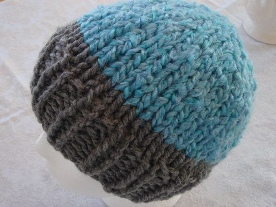 Hey, I found this really awesome Etsy listing at https://www.etsy.com/listing/266544403/hand-knit-hat-grey-and-aqua-blue-men
