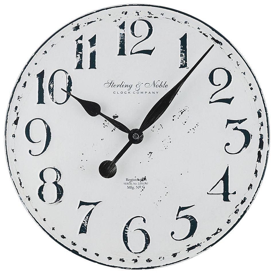 Sterling Noble 15 5 Metal Farmhouse Wall Clock Grey White Wall Clock White Wall Clocks Farmhouse Wall Clock