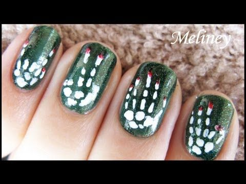 Halloween Nail Art Design - Skeleton Bones Bloody Hand Spooky Nail Art  Tutorial for short nails - Too Cute For Halloween 10 Fingers, 10 Toes Pinterest Short