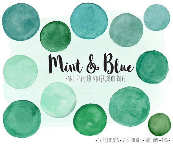 Watercolor Dots Clipart Hand Painted Mint Watercolor Circles