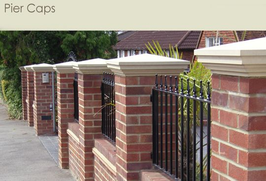Pier Caps House Fence Design Front Wall Design Landscaping Retaining Walls