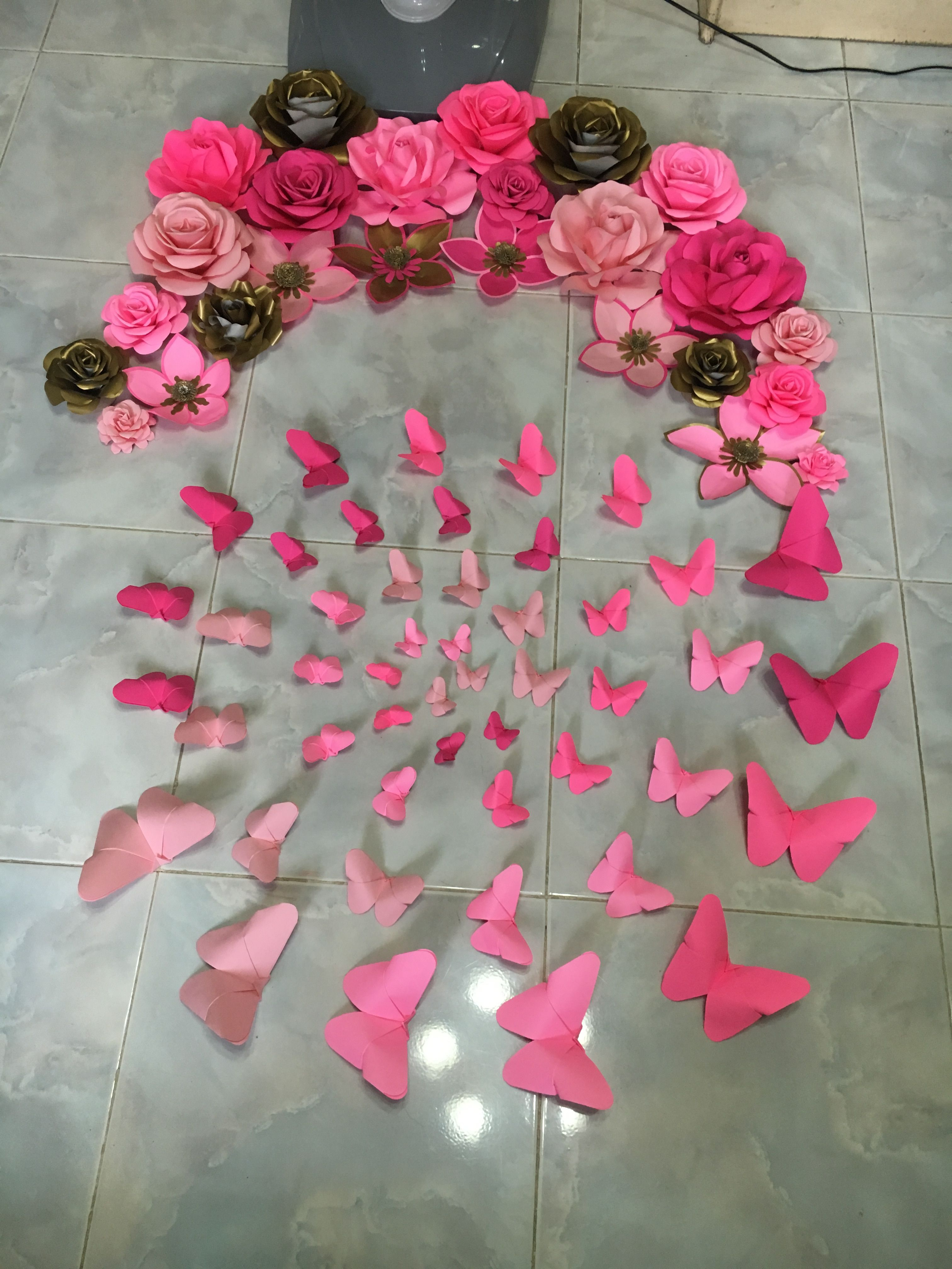 Shades Of Pink Paper Flower And Paper Butterflies By Gelle Diy