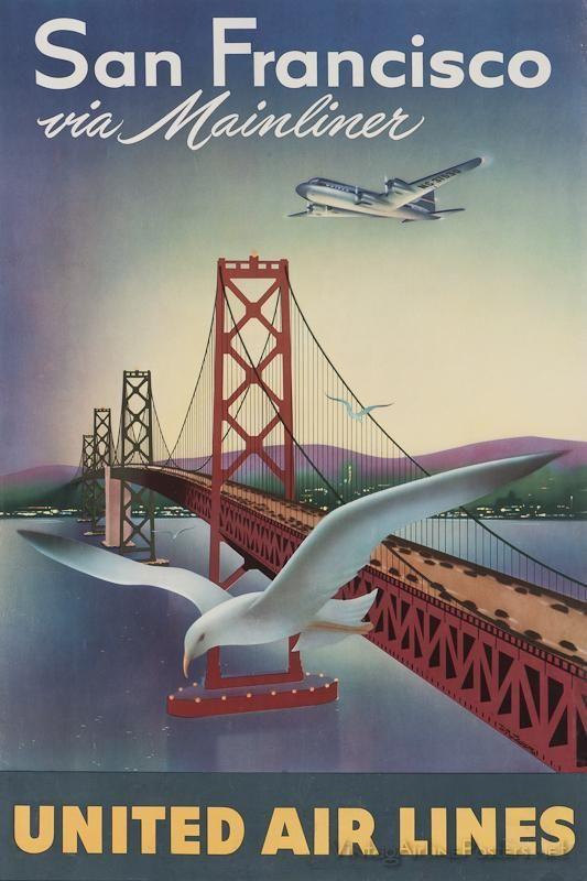 San Francisco United vintage airline travel promotion poster 16x24