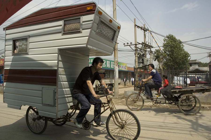 Camper Bicycle Bike Pedals House On Wheels Tiny Trailers