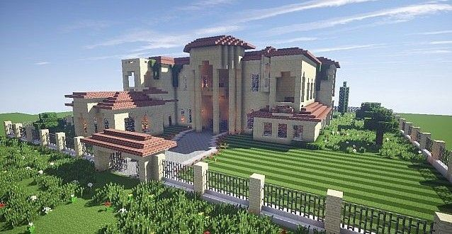 California Mansion minecraft house modern building ideas. California Mansion minecraft house modern building ideas