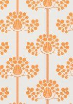 £38.98 Price per roll (per m2 £7.31), Living room wallpaper, Carrier material: Non-woven wallpaper, Surface: Smooth, Look: Matt, Design: Stylised flowers, Basic colour: White, Pattern colour: Orange, Characteristics: Good lightfastness, Low flammability, Strippable, Paste the wall, Wash-resistant