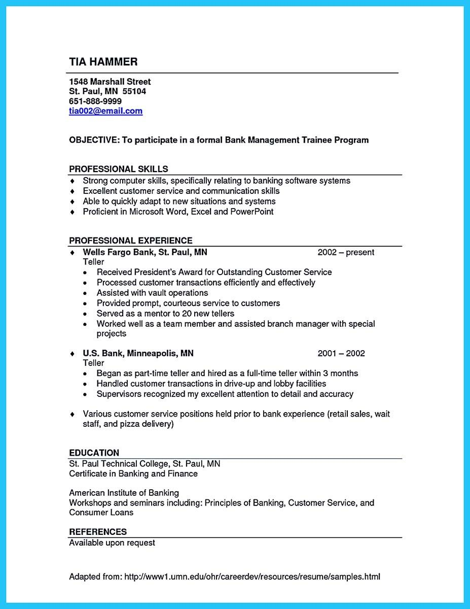 Computer Skills Resume Examples Amazing Nice Learning To Write From A Concise Bank Teller Resume Sample .