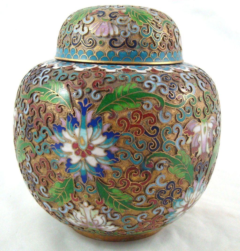 Vintage Cloisonne Chinese Enamel Gold Gilded Metal Vase