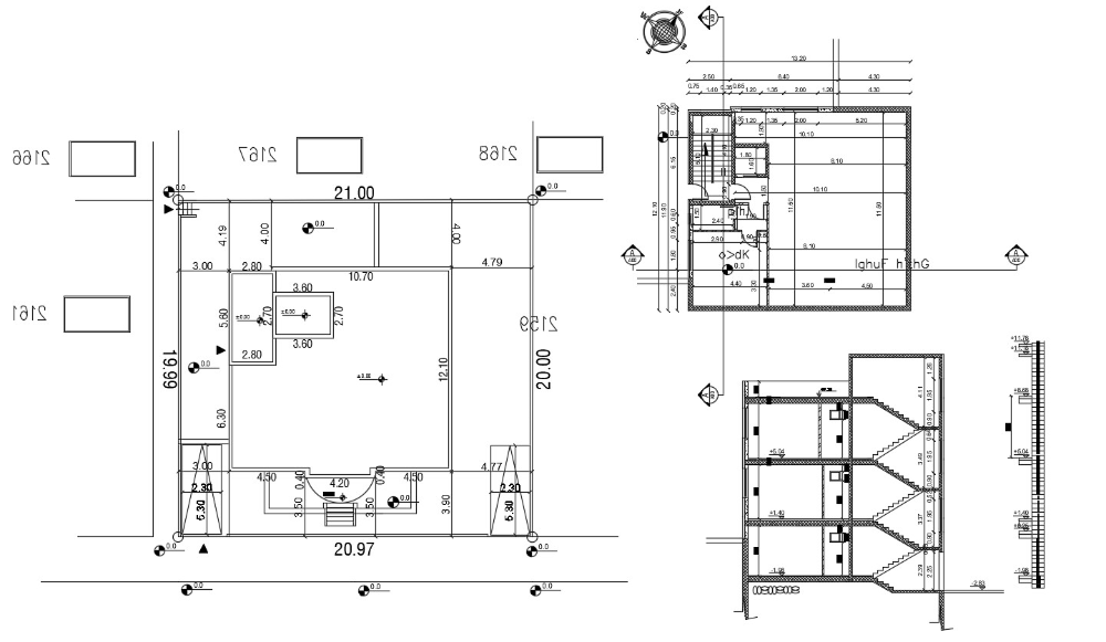 Simple Building Floor Plan With Working Dimension Section Autocad File Cadbull In 2020 Simple Building Simple Floor Plans Floor Plans
