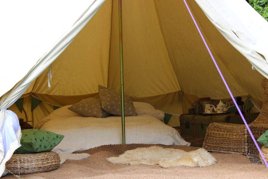 5m bell tent fully furnished interior 5m bell tent - vintage trunk