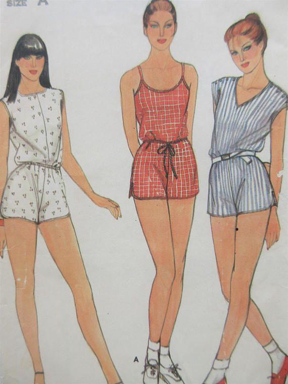 Vintage Butterick 3743 Sewing Pattern, Short Jumpsuit, Shorties ...