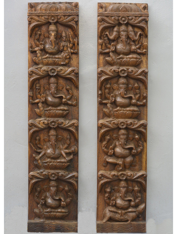 Astha Ganesh Vertical Wall Panel Wooden Wall Panels Pooja Room Door Design Wood Statues
