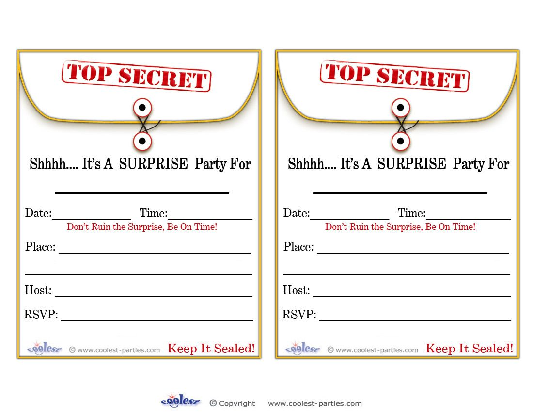 Printable Surprise Party Manila Invitations - Coolest Free ...
