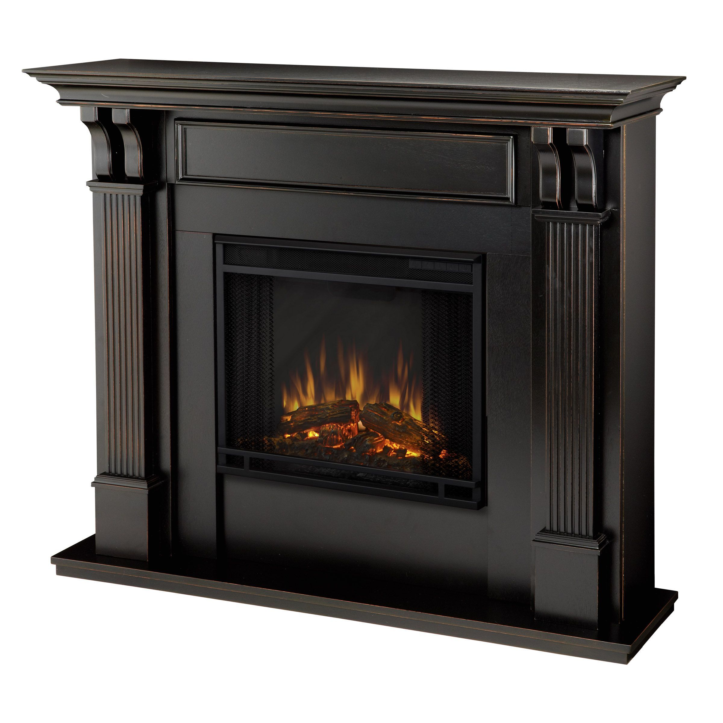 give your home a warm glow with this black electric fireplace the