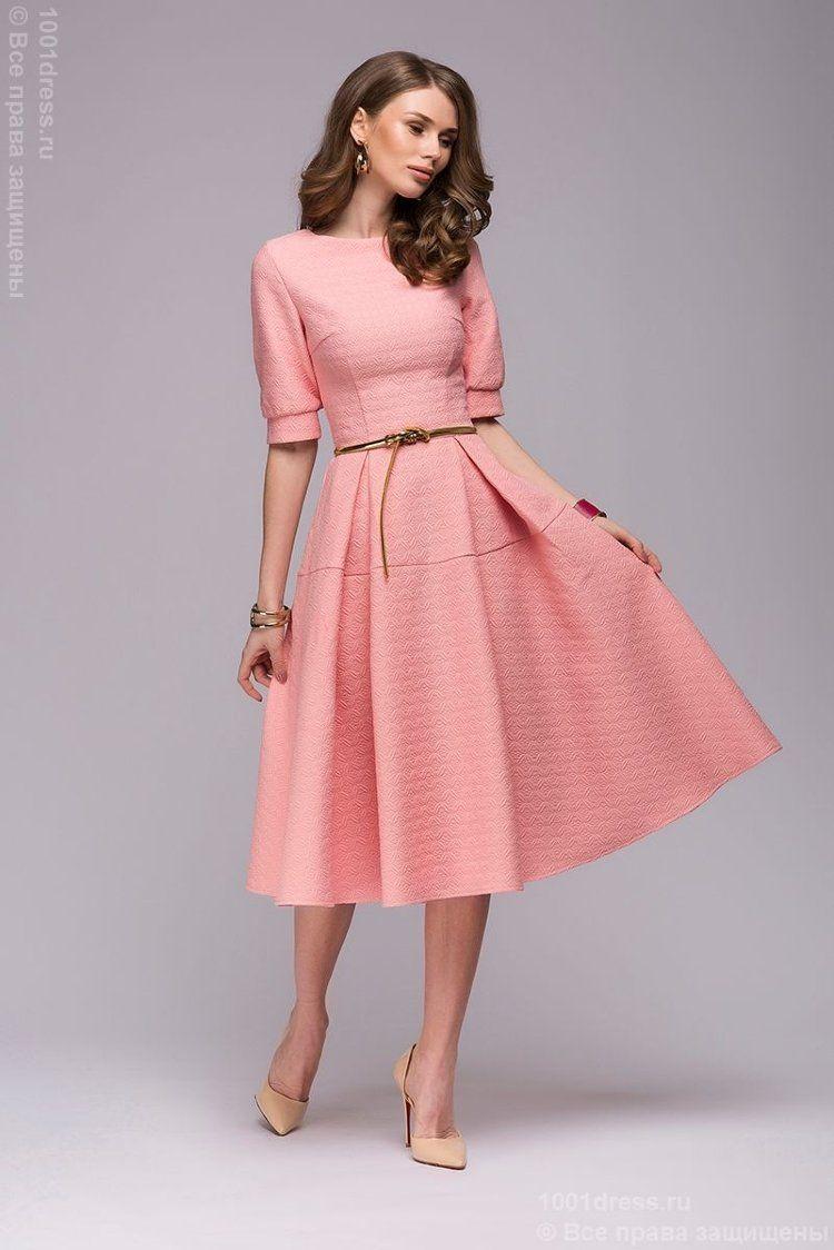 e56abd0ef03 Платье розовое длины миди с расклешенной юбкой и рукавами 1 2