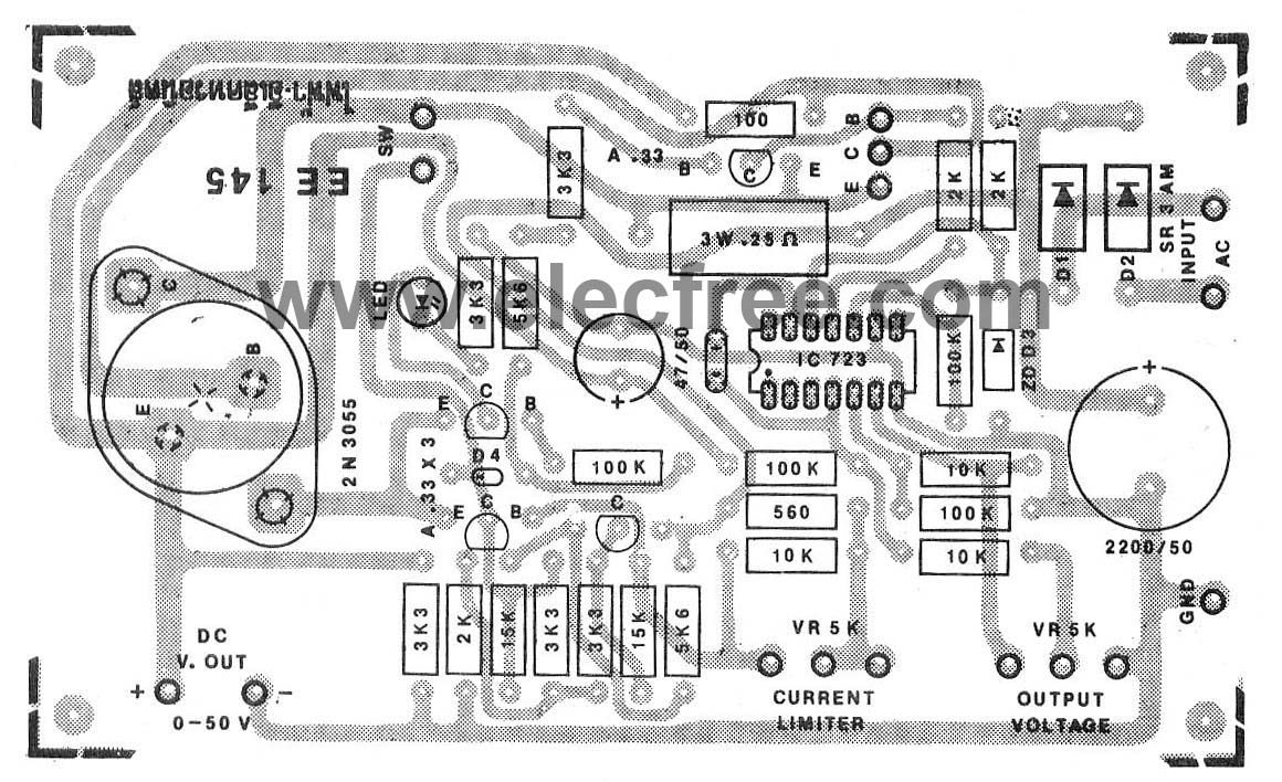 Variable Power Supply Circuit 0 50v At 3a With Pcb Eleccircuit Com Voltage Regulator Power Supply Circuit Power Supply