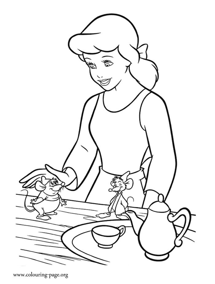 Cinderella Loves Her Friends Gus And Jaq Enjoy This Amazing Printable Coloring Page