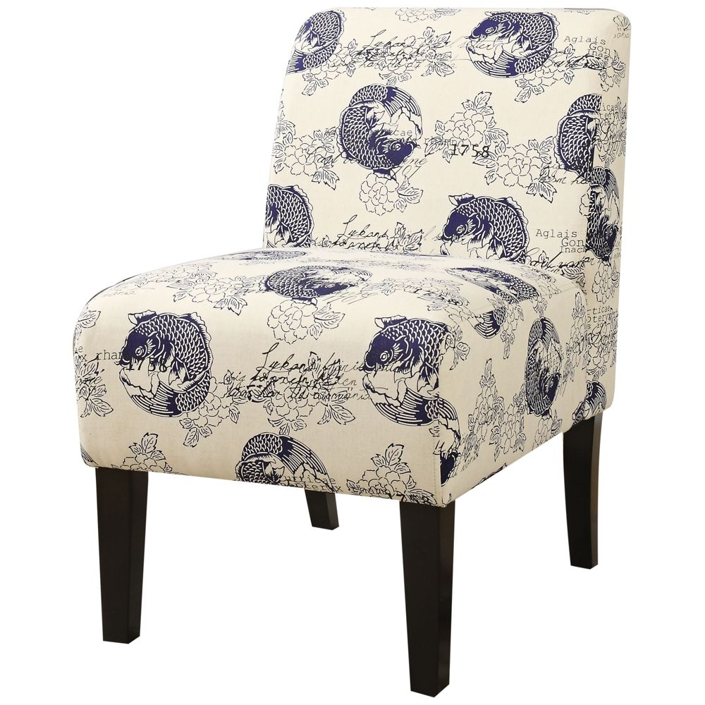 Best Ollano Blue And White Koi Fabric Armless Accent Chair 400 x 300