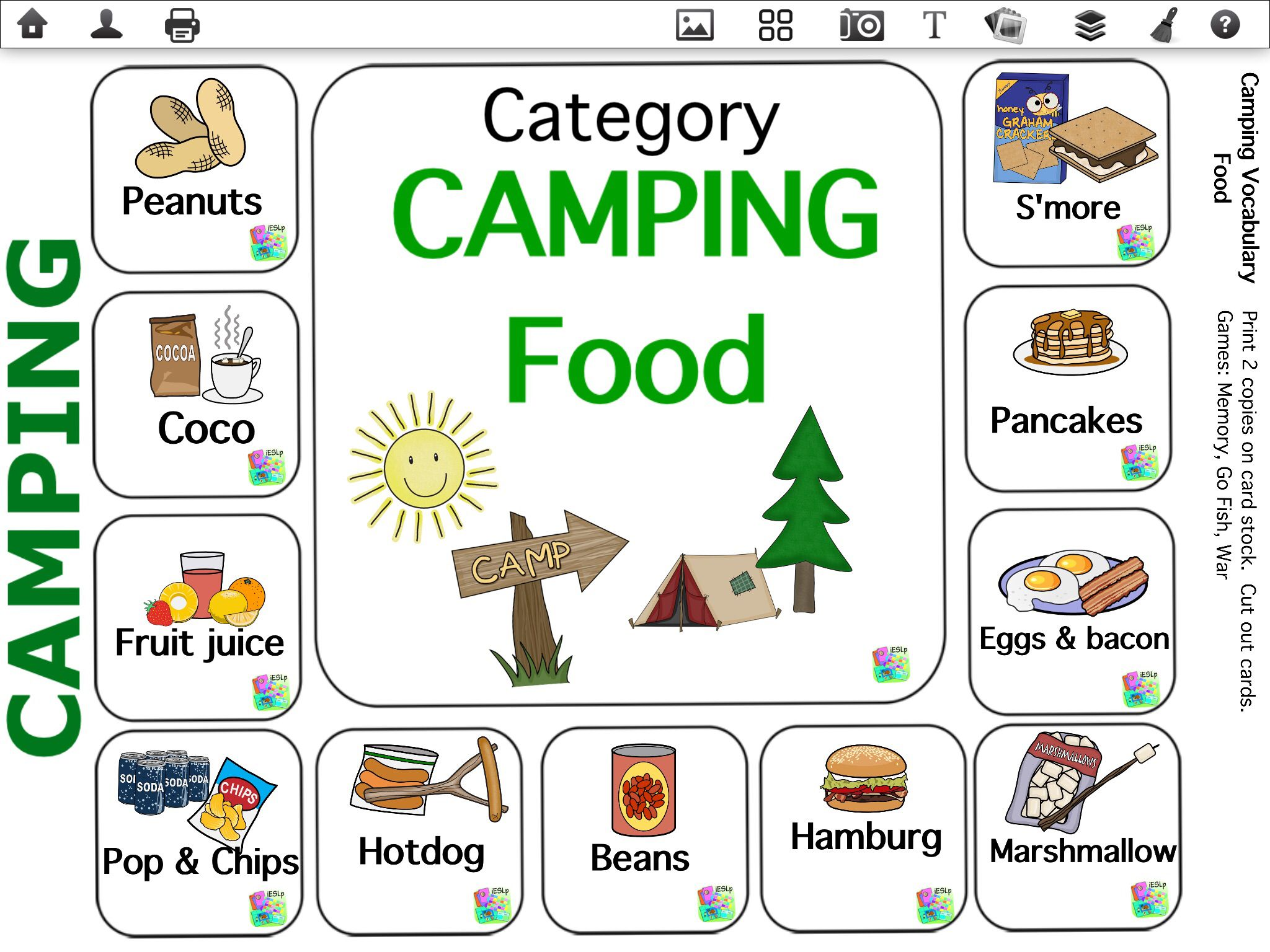 Camping Vocabulary Made On Ieslp App