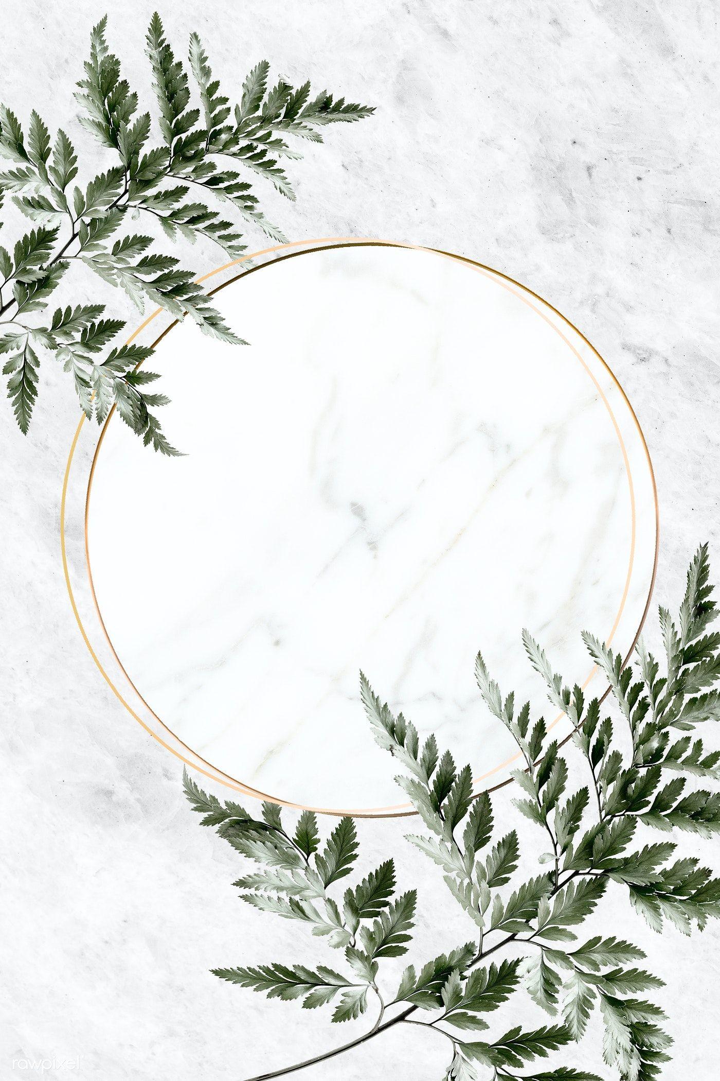 Download premium illustration of Round golden frame on a marble background