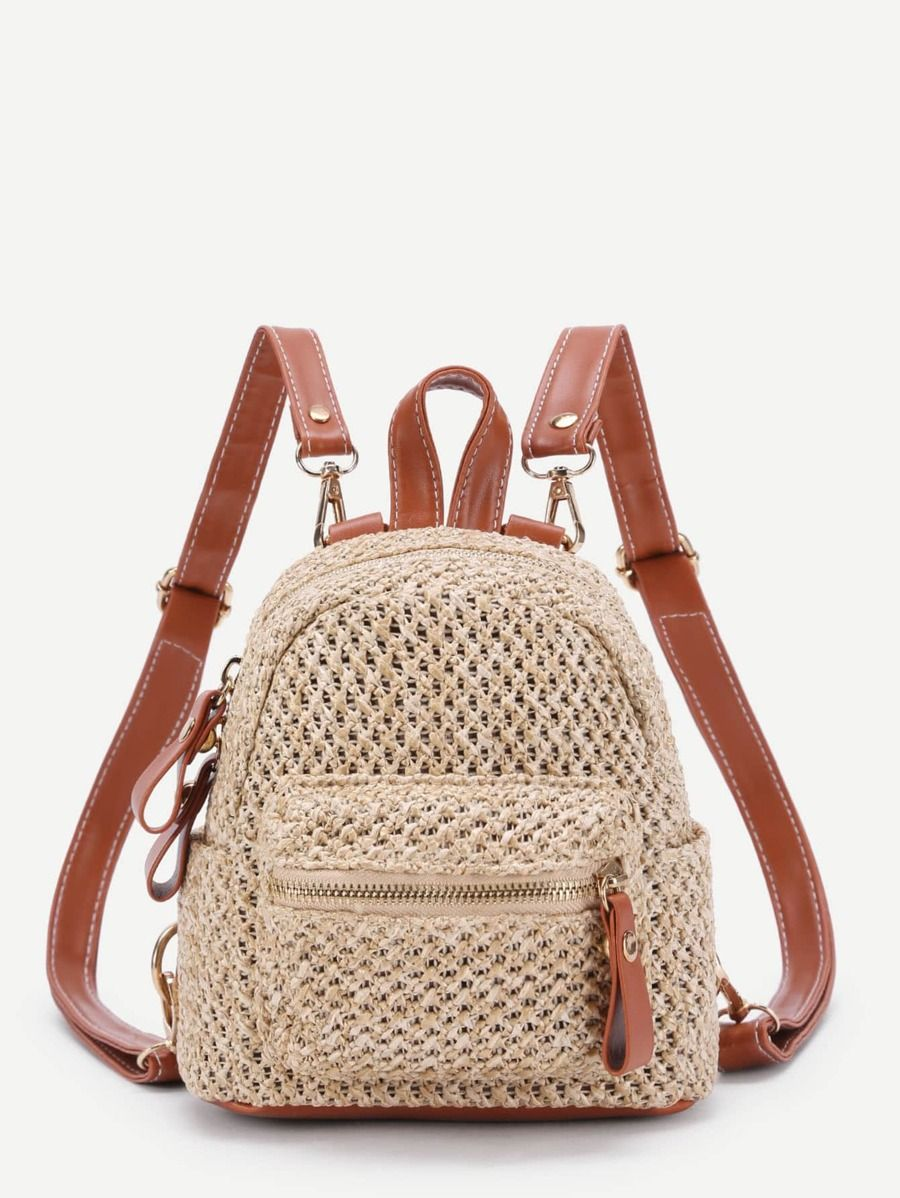 Photo of Zipper Front Straw Mini Backpack With PU Strap | SHEIN