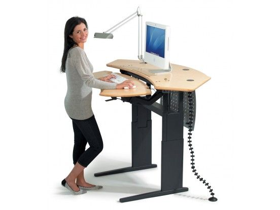 Flexo Standing Desk With Maple Finish It Goes Up To 51 5 Inches