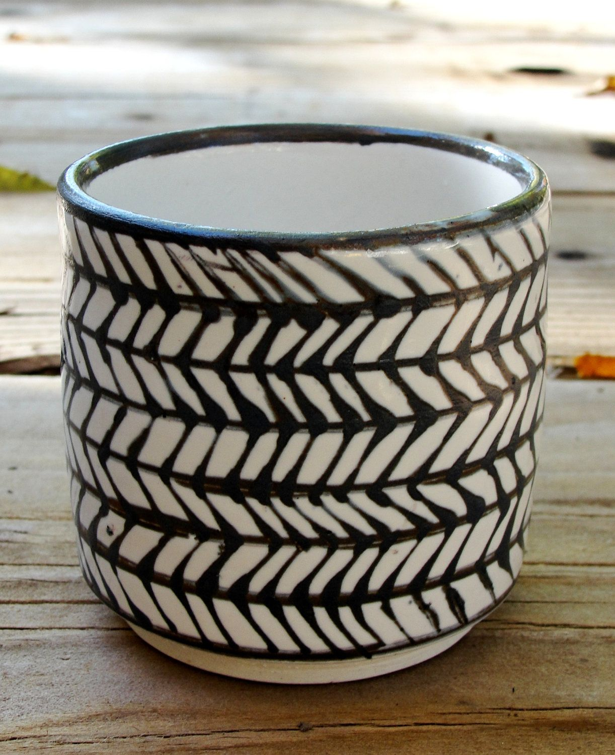 Black and White Herringbone Cup--Adrian Wallace