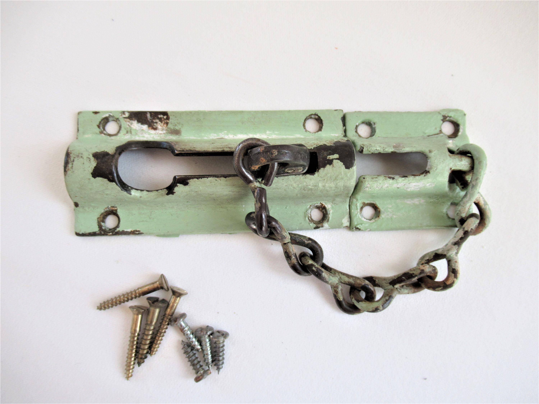 Vintage Chippy Green Chain Lock 1940s Salvaged Brass Interior Etsy Chain Lock Vintage Brass
