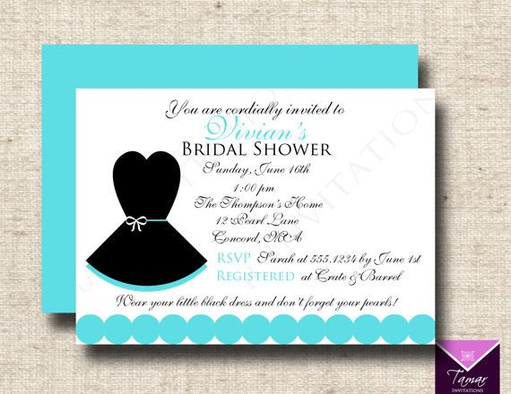Printable Breakfast At Tiffanys Change To Bachelorette Invitation Little Black Dress With Back