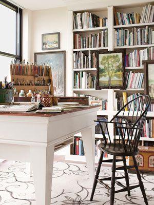 Beautiful Art Studio - Love the bookcases
