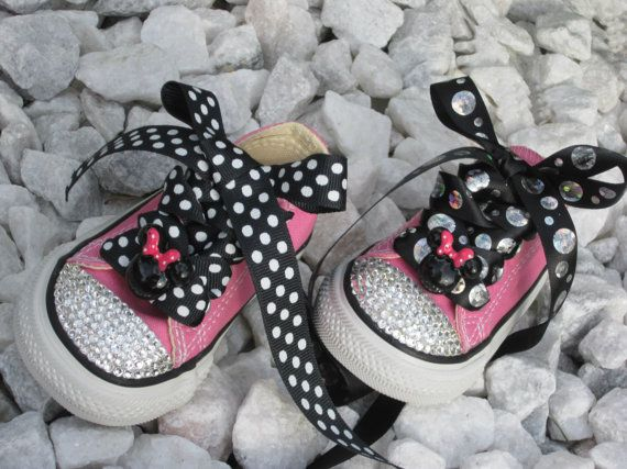4d4916e26aa80 MINNIE the MOUSE inspired Baby High-Top Lo-Top Girl Converse ...