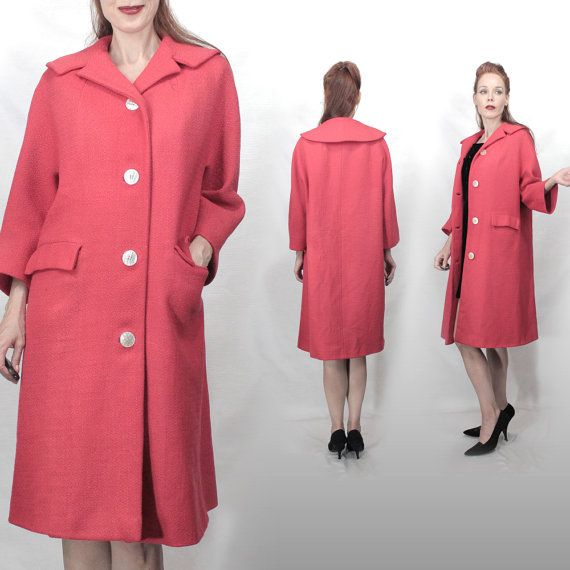 Vintage 1950s swing coat S M Wool coat Hot pink coat women small ...