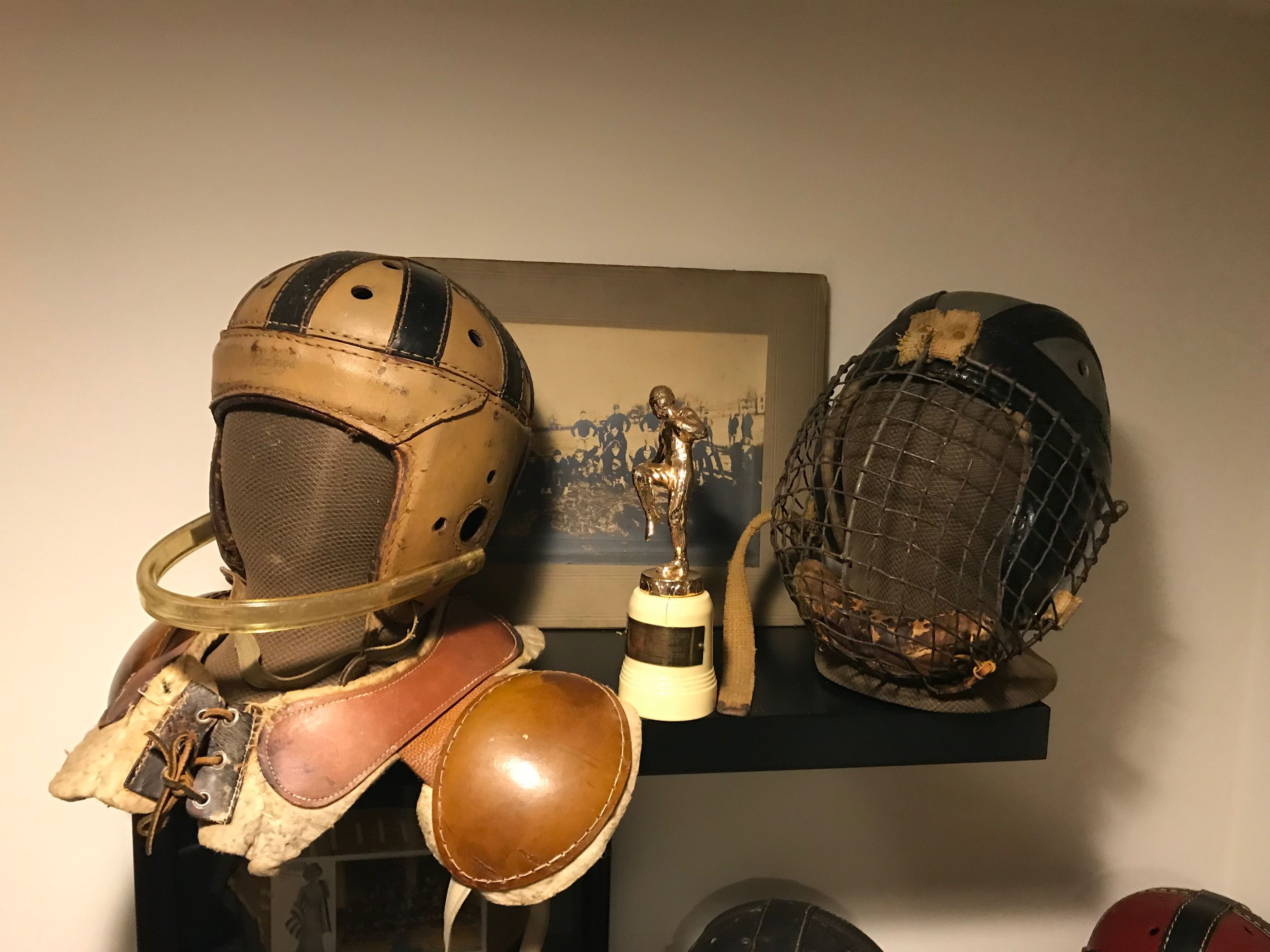 Antique 1930 s leather football helmets with unique face