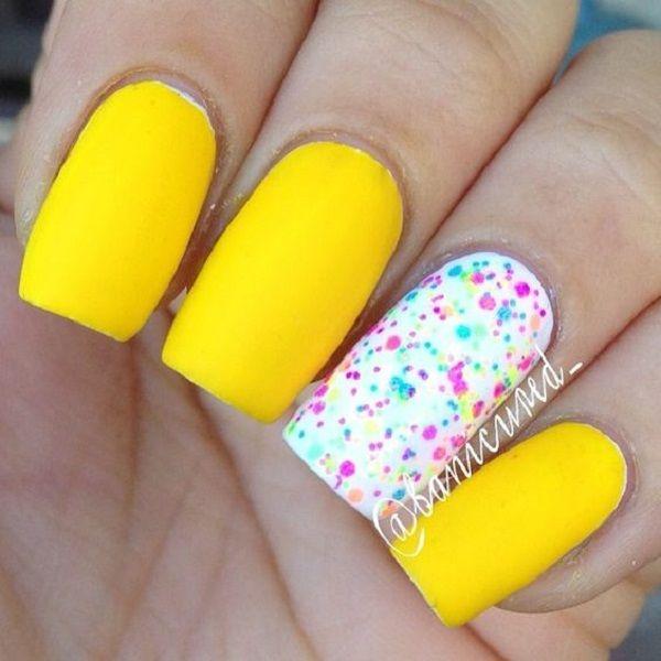 45 Yellow Nail Art Designs Nail Art Community Pins Pinterest