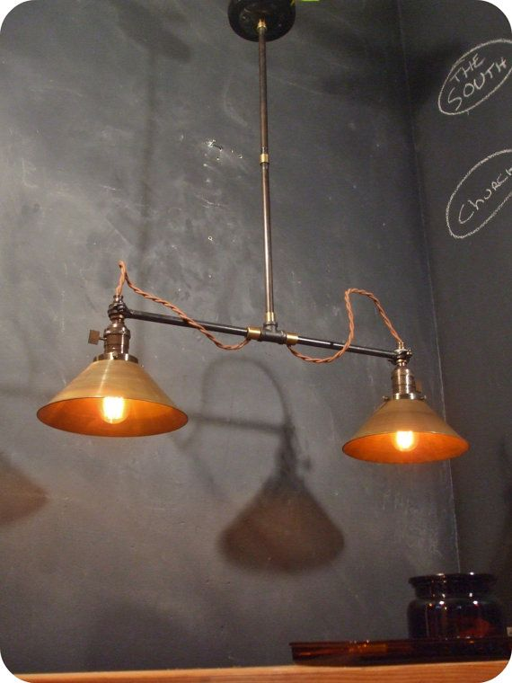 Twin pendant lamp w brass cone shades vintage industrial ceiling twin pendant lamp w brass cone shades vintage industrial ceiling fixture aloadofball Choice Image