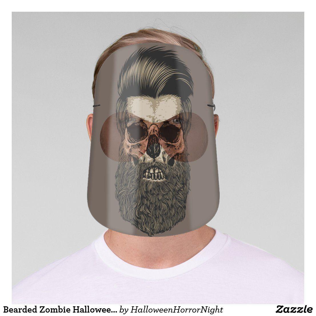 Bearded Zombie Halloween Scary Face Shield in