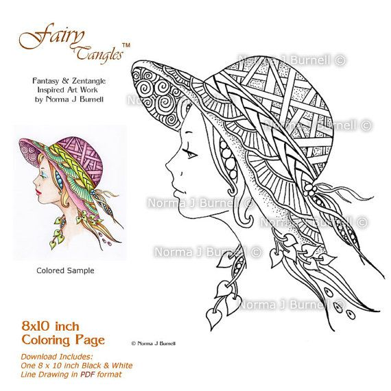 Lilly's Hat - Fairy Tangles Adult Coloring Sheet Template Page by Norma J Burnell 8x10 Coloring book Page for Adults Fairies - Colouring