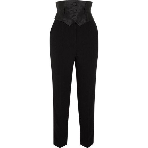 Crepe And Silk-mikado Slim-leg Pants - Black Ronald van der Kemp Fd1TlPH0