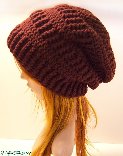 Mocha Slouchy Delight Hat Pattern pattern by April Draven | Gorros ...